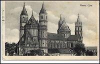 Worms Rheinland-Pfalz alte Ansichtskarte 1920 gelaufen Partie am Dom Kirche