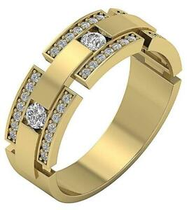 Natural Round Diamond 14K Gold Designer Anniversary Men's Ring SI1 G 0.85 Carat