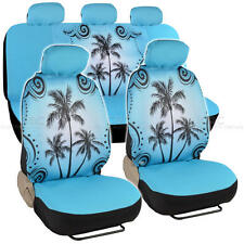 Car Seat Covers Blue Palm Tree Design Universal Fit Full Set W/ Auto Accessory