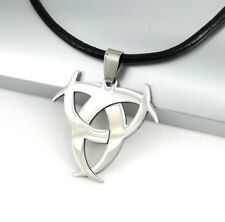 Silver Biohazard Poison Stainless Steel Pendant Black Leather Surfer Necklace