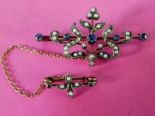 ANTIQUE 9ct GOLD PEARL & SAPPHIRE BROOCH WITH SAFETY BROOCH