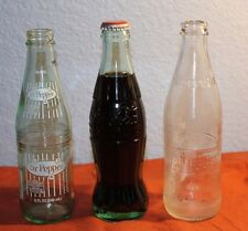 Set of 3-VINTAGE Glass SODA BOTTLES-Two Empty-DR. PEPPER-10-2-4 & Full COKE!