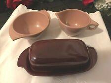 Boonton Maroon Burgundy Butter Dish Pink Sugar Bowl & Creamer Melmac Melamine
