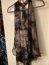 Blue Velvet Sleeveless Blouse  With Flowing Scarf Top Shirt Beautiful