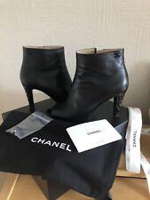 Chanel Open Toe Booties Black 37.5 Uk 4.5