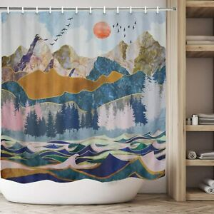 Blue Gold Gray Abstract Mountain Lake Landscape Sky Fabric Shower Curtain