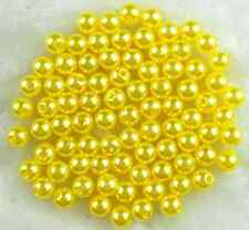 50Pcs 10mm Yellow Round Acrylic Pearl beads Spacer Loose Beads