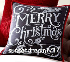 "Pottery Barn Merry Christmas Pillow Cover 20"" square"