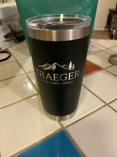 Rare 20 oz. Yeti Rambler Tumbler Traeger Grills Limited Edition Black Used