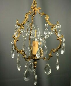 French Antique Gilt Bronze Louis XV Rococo Chandelier Crystal Drops Hanging Lamp