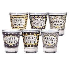Espresso Tassen Gläser 50 ml Espressotasse Kaffee Glas Retro Vintage 6er-Set