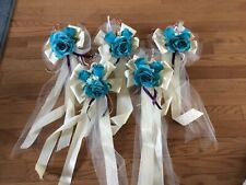 10 turquoise and ivory  bows for wedding or gifts