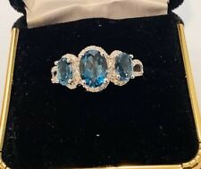 London Blue Topaz diamonds,10k White Gold Ring Size7