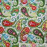 BonEful FABRIC FQ Cotton Quilt White Green Red Snow*flake Flower Paisley Xmas NR