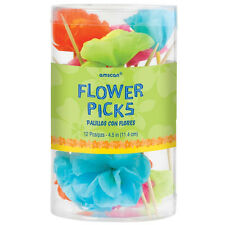 12 x Hawaiian cibo e bevande Picks ibisco tropicale Fiori Cibo Festa Picks