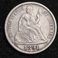 1891-O Seated Liberty Dime CHOICE AU FREE SHIPPING E313 RNH