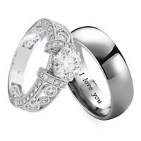 Premium Couple Ring Set - Titanium and 925 Sterling Silver Wedding Ring Set