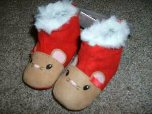 Gymboree Baby Girls Snow Cozy Mouse Slippers Shoe Size 1 2 3 4 NWT 0-3 3-6 6-12