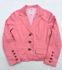 TALBOTS Petites Stretch Lined Cotton Blazer Pink 3 Button Long Sleeve 6 Petite