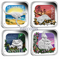 Seasons of Australia 2013 Perth Mint $1 Pure Silver Square Proof Coins Set of 4