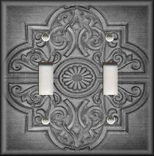 Metal Light Switch Plate Cover Wallplate Rustic Medallion Home Decor Light Grey
