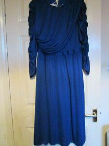 blue evening dress UK  14 prom reception party cruise midi frock M medium