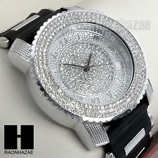 Men Techno Pave Hip Hop Iced Out Bling Diamond Rapper's Black Silicone Watch 201