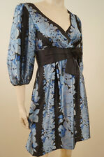 NANETTE LEPORE Black & Blue Silk Floral V Neck Bow Belted Evening Dress US4 UK8