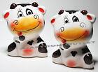 COW SALT & PEPPER SHAKERS CERAMIC SET KITCHEN DECOR WHIMSICAL GIFT FACE FUNNY