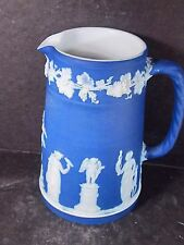Wedgwood Royal or Midnight Blue Pitcher Various Greek Figures 5 1/2""
