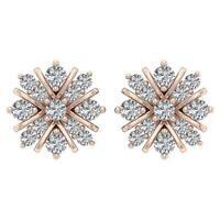Cluster Stud Earring Natural Diamond SI1 G 0.65Ct 9.30MM 14K Rose Gold Appraisal