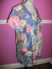 JOULES MARYSE TUNIC TOP  SHORT SLEEVE SHIRT BLUE RED FLORAL cotton S 10 12