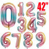 "42"" Rainbow 0-9 Number Age Helium Ballons Foil Jumbo Giant Birthday Party Decor"