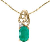 14k Yellow Gold Oval Emerald and Diamond Pendant (no chain) (CM-P2582X-05)