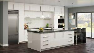 RTA 10X10 Contemporary Palermo Gloss White Kitchen Cabinets Glossy Slab Door