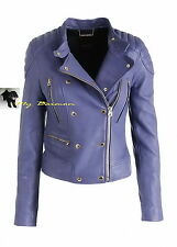 JUICY COUTURE $698 FAB!! Stromy Blue Lambskin Leather Moto Jacket Coat  L