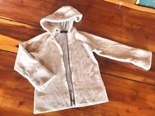 Possum Merino Angora Zipper Jacket Cardigan with Hood Beige