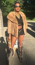 Mint VTG Designer sable color EMBA Mink Fur coat jacket bolero stroller S- M 0-8