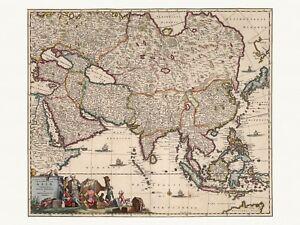 Old Antique Decorative Map of Asia de Wit ca. 1682