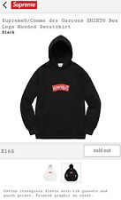 SUPREME CDG Comme des Garcon BOX LOGO Hooded Sweatshirt (BLACK) Mens sz XL hoody