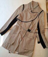 YIGAL AZROUEL Khaki Leather Spring Fashion Trenchcoat Jacket Linen Coat Sz 2