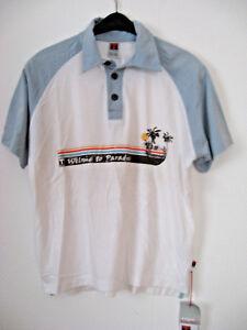 Herren Polo Shirt Timezone mit Print weiß/blau  Gr .2  ( SONDERPREIS )