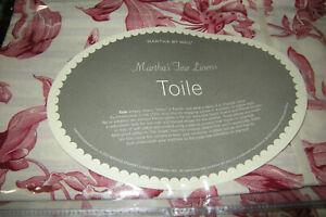 NEW Martha Stewart Fine Linens Toile Euro Pillow Sham, Red,100% Cotton,Italy