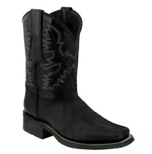 Mens Carved Floral Square Toe Mid Knight Boots Retro Low Heel Cowboy Shoes Mm000