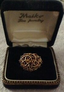 RUBY OPEN WORK WIRE COCKTAIL RING 14K SIZE 7 1/2