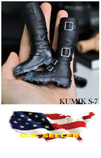 1/6 kumik men shoes Black Military Combat horse riding boot for hot toys ❶USA❶