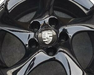 Black With Silver Emblem  76mm Wheel Centres X4 Carrera Boxster  911 Cayman 986
