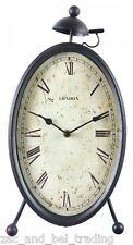 Rustic Metal Oval Mantel Clock Retro Industrial Desk Clock - French Provincial