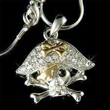 Halloween ~PIRATE~~ captain w Swarovski Crystal SKULL crossbone Pendant Necklace