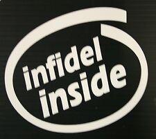 "INFIDEL INSIDE 5"" White  - Window Decal Sticker"